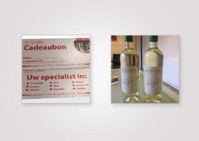 Wijnetikette en cadeaubonnen- Juwelier Ten Hoor Winschoten